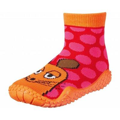 Playshoes zwemsokken muis oranje fuchsia