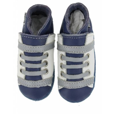 Oxxy babyslofjes veter blauw wit