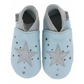 Oxxy babyslofjes open ster lichtblauw zilver