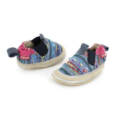 Shoesme babyslofjes Babyproof Soft espadrille blauw fuchsia