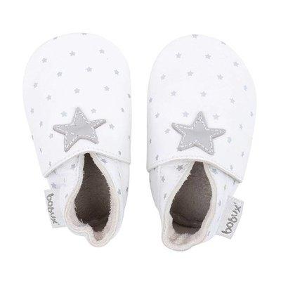 Bobux babyslofjes White with silver star print