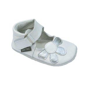 Baby Paws babyslofjes Amanda wit met zilveren bloem