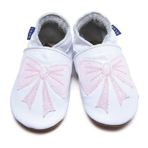 Inch Blue babyslofjes bow white glitter baby pink