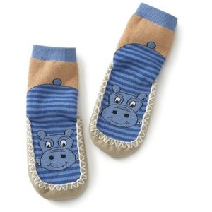 Playshoes soksloffen nijlpaard blauw