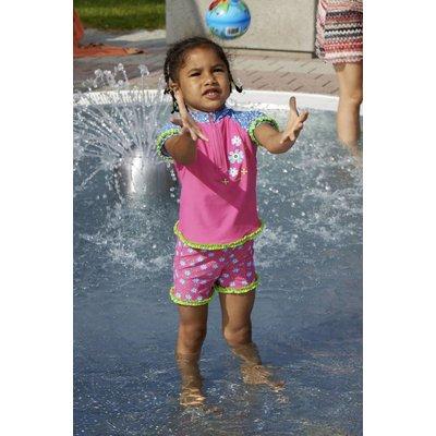 Playshoes zwemset Bloemen fuchsia