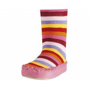 Playshoes soksloffen gestreept roze