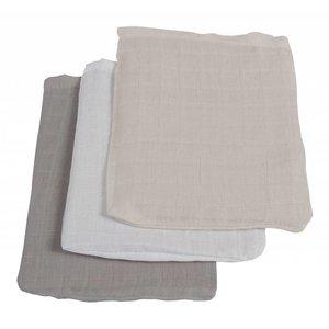 Jollein hydrofiel washandjes grijs/antraciet/wit