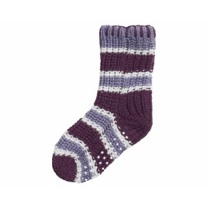 Playshoes gebreide sokken streepjes dark lilac