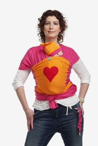 ByKay draagdoek design fuchsia oranje met rood hart