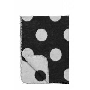 Meyco deken Black Label Big Dot zwart wit