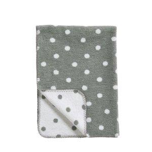 Meyco deken stip grijs/wit
