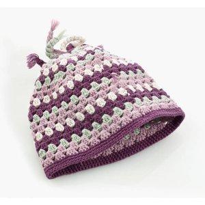 Pebble gehaakt mutsje paarse streep