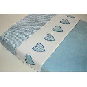 Taftan laken hartjes ruit licht blauw