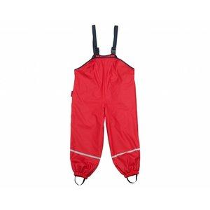 Playshoes regenbroek met bandjes fleece gevoerd rood