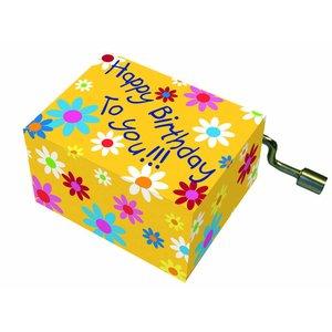 Fridolin muziekdoosje Happy Birthday bloemetjes