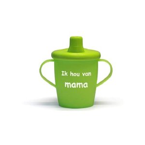 Kiddyboo antilekbeker met drukdeksel 'Ik hou van mama' limegroen SALE