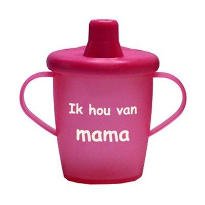 Kiddyboo antilekbeker met drukdeksel Ik hou van mama fuchsia SALE