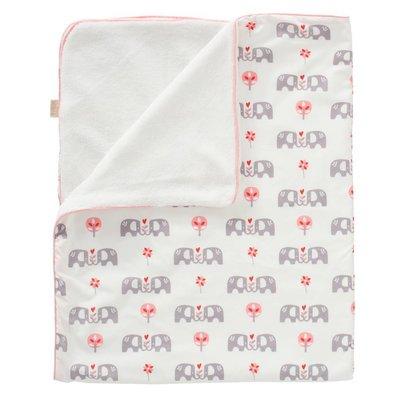 Fresk deken katoen/velours Elefant pink