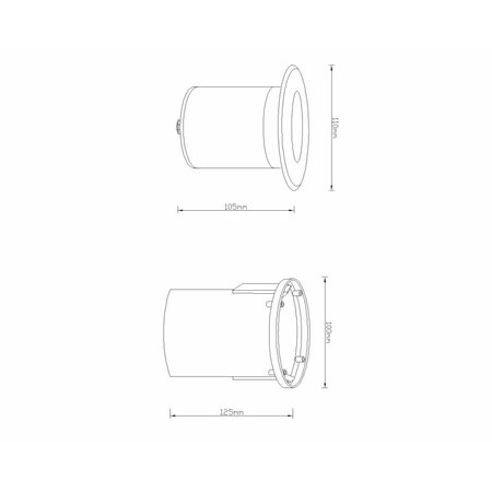 RVS grondspot 230V GU10 (110MX) + gratis LED lamp