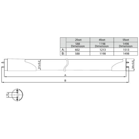 LED TL buis met sensor 22W - 150cm - T8 (0-100)