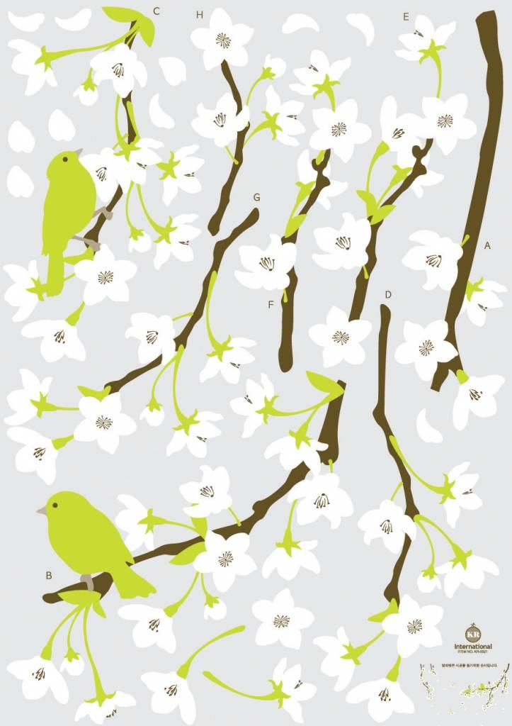 Takken met witte bloemen   Muurstickercenter