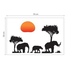 Muursticker jungle met zon