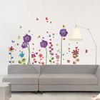 Muursticker paarse en fleurige bloemen