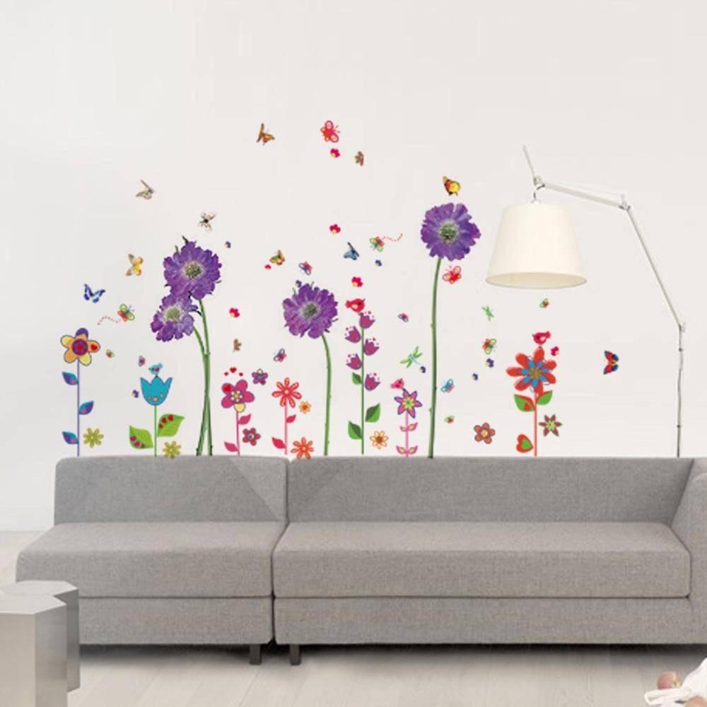 muursticker paarse en fleurige bloemen - muurstickers woonkamer, Deco ideeën