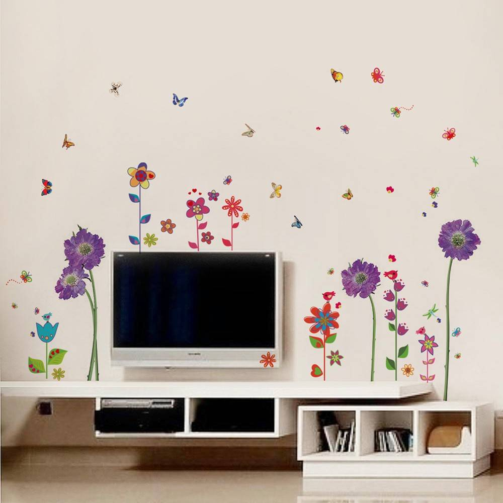Muursticker paarse en fleurige bloemen   muurstickers woonkamer ...