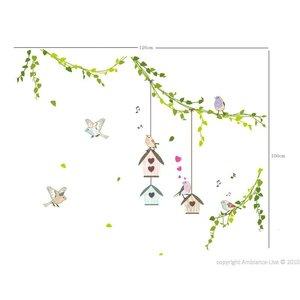 Muursticker takken met vogelhuisjes en vogels