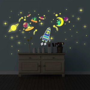 Muursticker glow in the dark galaxy XL