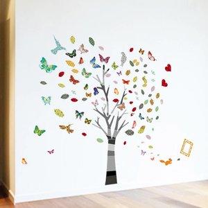 Muursticker mooie boom met vlinders