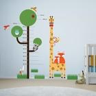 Muursticker groeimeter boom met giraffe en andere diertjes