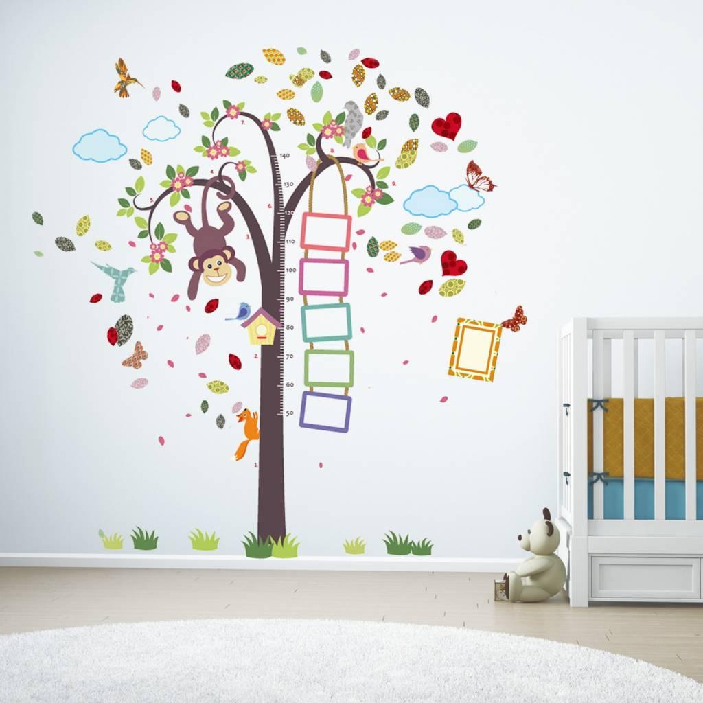 muursticker groeimeter aapje in boom xxl - muurstickers babykamer, Deco ideeën