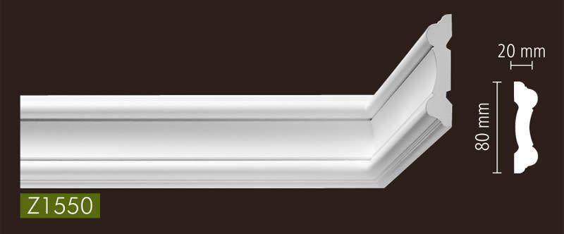 nmc stuckleisten profilleiste wandleisten arstyl z1550 80 x 20 mm l nge 2 m stuckleisten. Black Bedroom Furniture Sets. Home Design Ideas