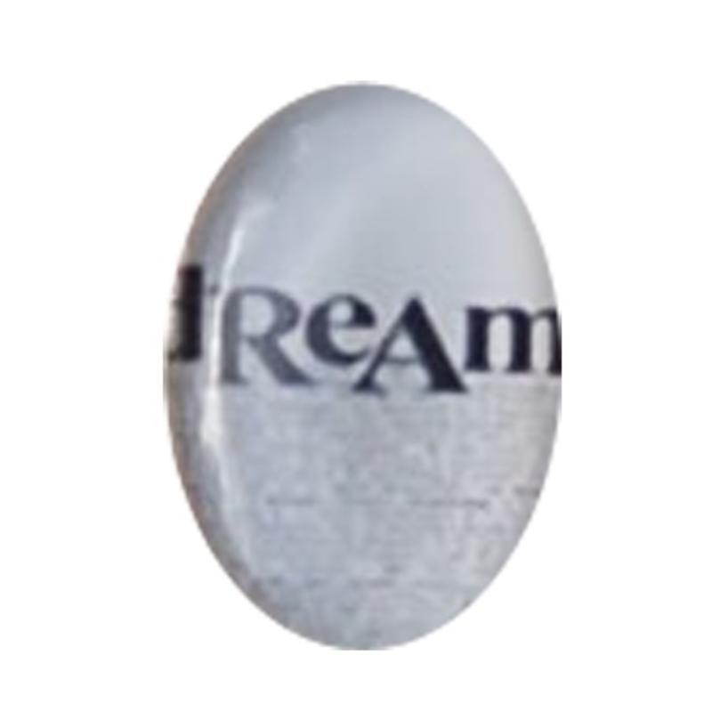 Cabochon Ovaal. 13x18mm. Glas. Tekst Dream. Past in kastje 27504.03