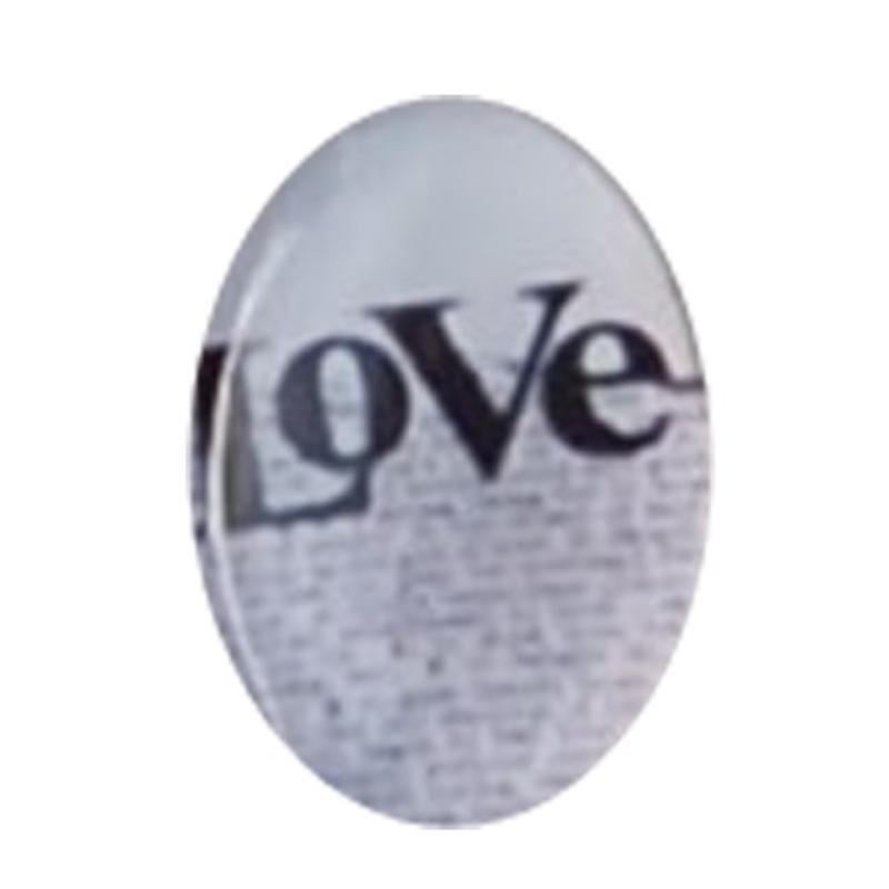 Cabochon Ovaal. 13x18mm. Glas. Met tekst LOVE. Past in kastje 27504.03
