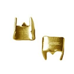 Veterklem zonder oogje. 4x5mm. Goudkleurig A-Kwaliteit. Brass.