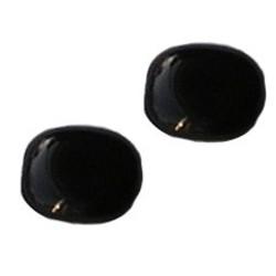 Glaskraal. 12x14mm. Zwart. Pastillevormig.