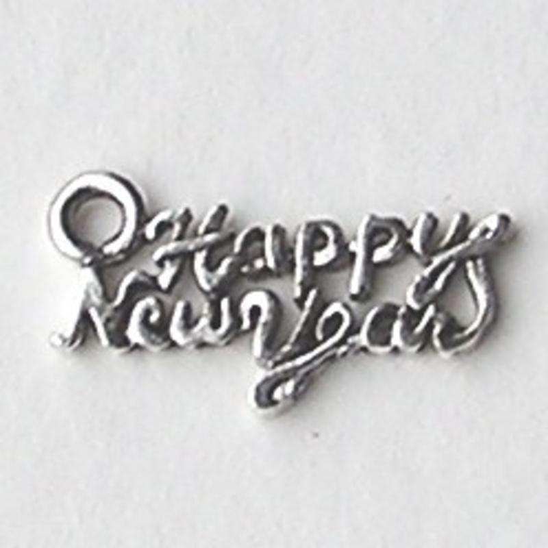 Bedel. Tekst. Happy New Year. 27mm. Oudzilverkleurig. (ook in grootverpakking)