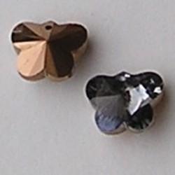 Hangertje Glas Black Diamond. Vlinder. 13x16mm. Gaatje bovenin.