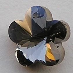 Hangertje Glas Black Diamond. Bloemetje. 14mm. Gaatje bovenin.