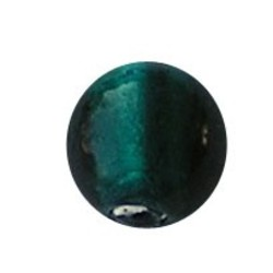 Glass bead. 14mm. Petrol Green Silver Foil. 3 pieces for