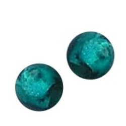 Glass bead. 8mm. Petrol Green. Silver foil. 10 pieces for