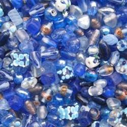 Glaskralenmix. Blue Fantasy mooie kwaliteit 50 gram.