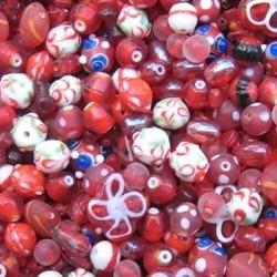 Glaskralenmix. Red White Fantasy. mooie kwaliteit 50 gram.