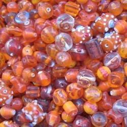 Glaskralenmix. Orange Fantasy. mooie kwaliteit 50 gram.
