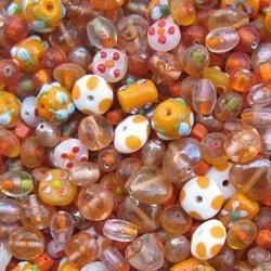 Glaskralenmix. Orange White Fantasy. mooie kwaliteit 50 gram.