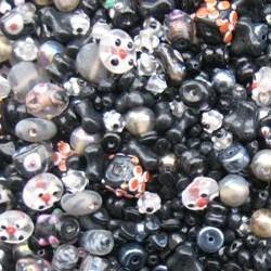 Glaskralenmix. Black Italien Style. (mooie kwaliteit ook in 250 gram). 50 gram.