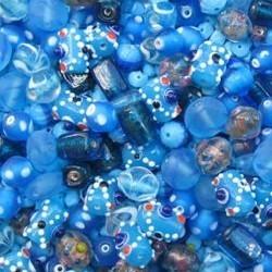 Glaskralenmix. Aqua Italien Style. (mooie kwaliteit ook in 250 gram). 50 gram.